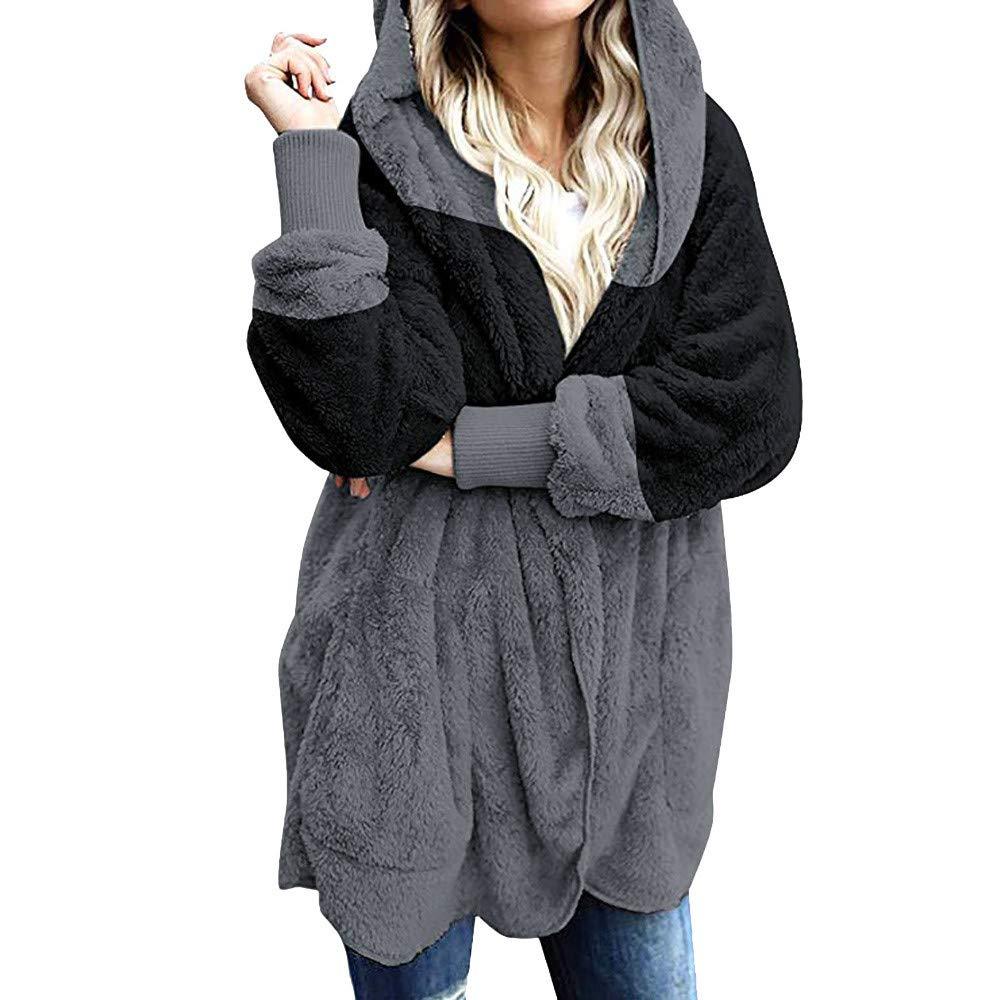 Women Coats Women's Splicing Oversized Fuzzy Fleece Open Front Hooded Draped Pockets Cardigan Coat