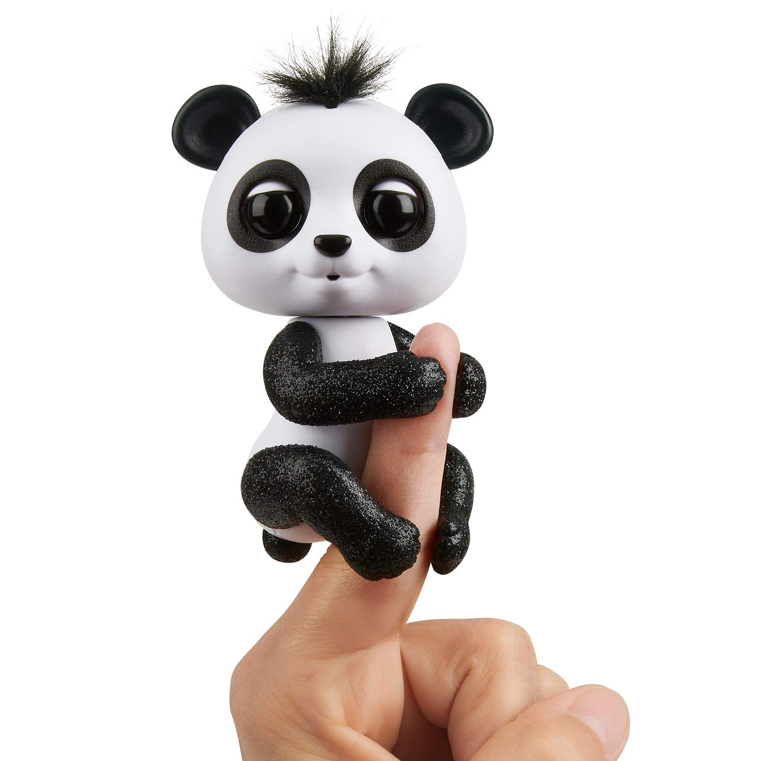 WowWee Fingerlings Glitter Panda - Drew (White & Black) - Interactive Collectible Baby Pet 3564