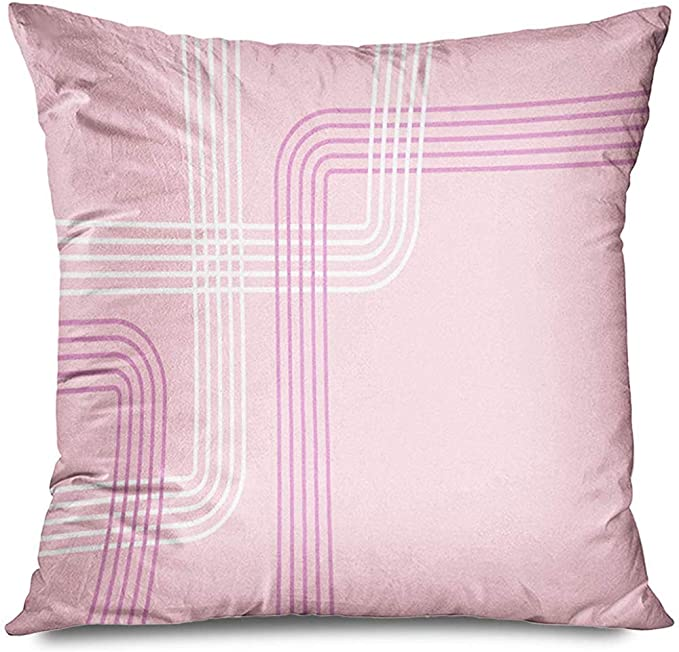 Throw Pillow Cover Square Purple Bent Pattern Pastel Pink Leaflet Lines Smooth Abstract Border Clean Color Curve Drawing Decorative Amazon Co Uk Kitchen Home