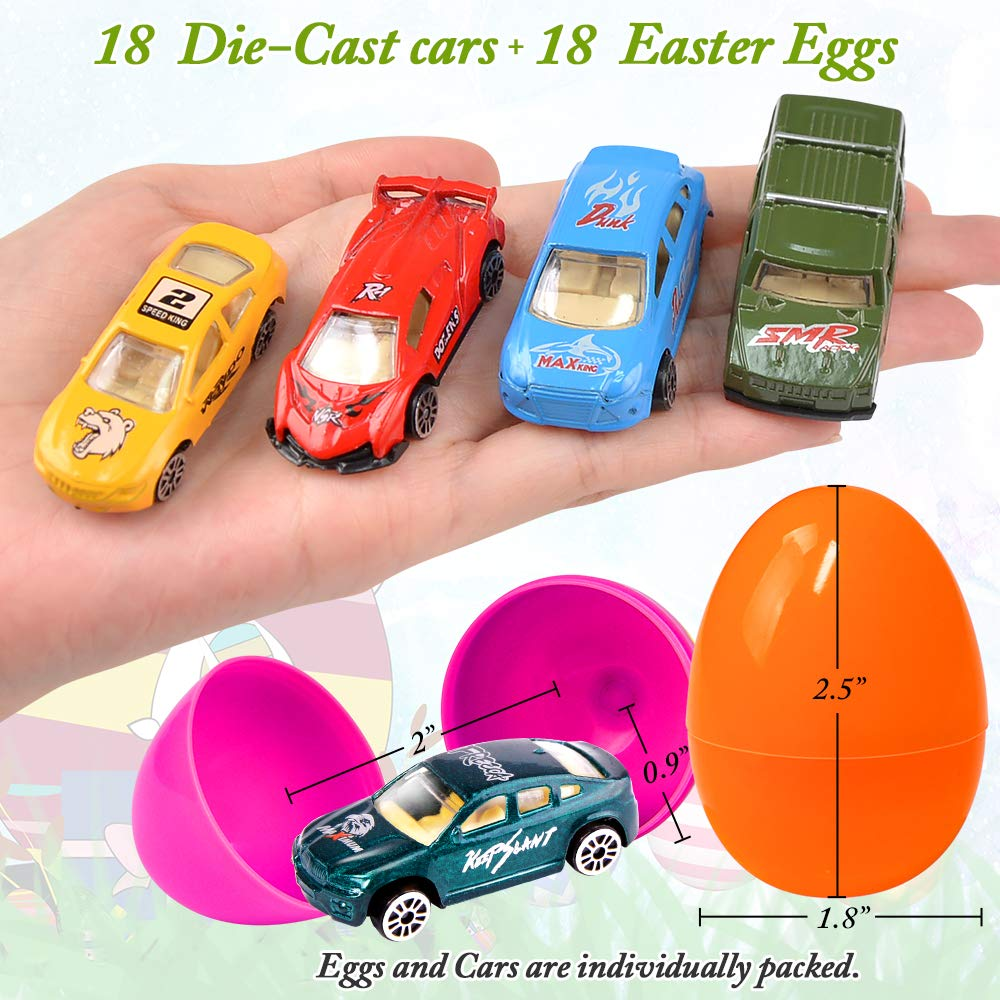 UMIKU 18 Pack Easter Cars Toys Easter Eggs Mini Die-Cast Cars Easter Basket Stuffers Easter Egg Fillers for Kids Surprise Egg Hunt Party Favors Premium Metal Car Toys Easter Gifts Class Prizes by UMIKU (Image #7)
