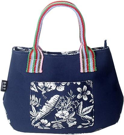 Mochila Color Nacional Bolso De Mujer Impresión Bolso De Mujer Cifrado Bolsa De Lona De Algodón Bolso De Moda Azul con Flor De Hoja Blanca: Amazon.es: Hogar