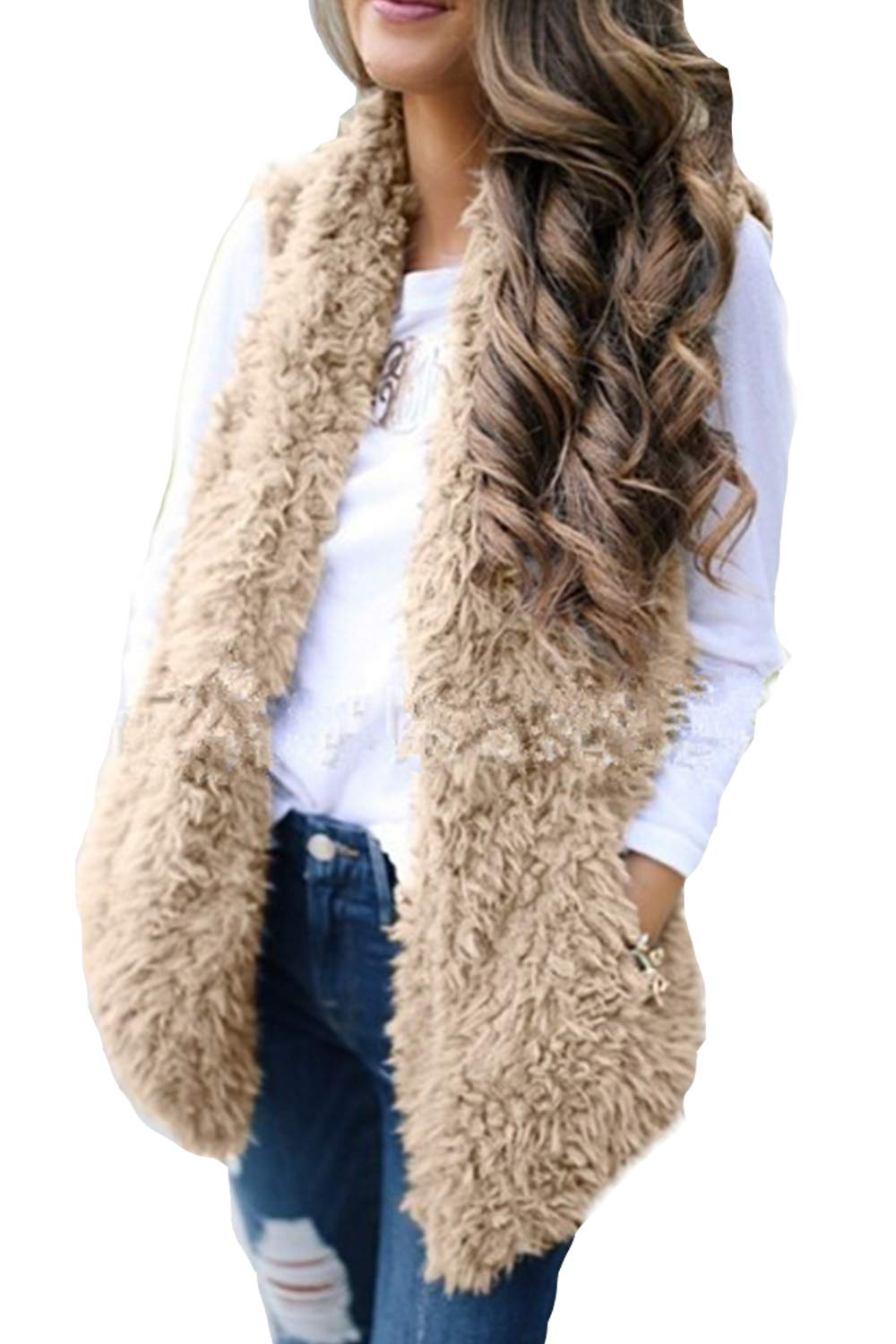 Zilcremo Womens Jackets Vests Furry Cardigan Open Front Outercoat Tops