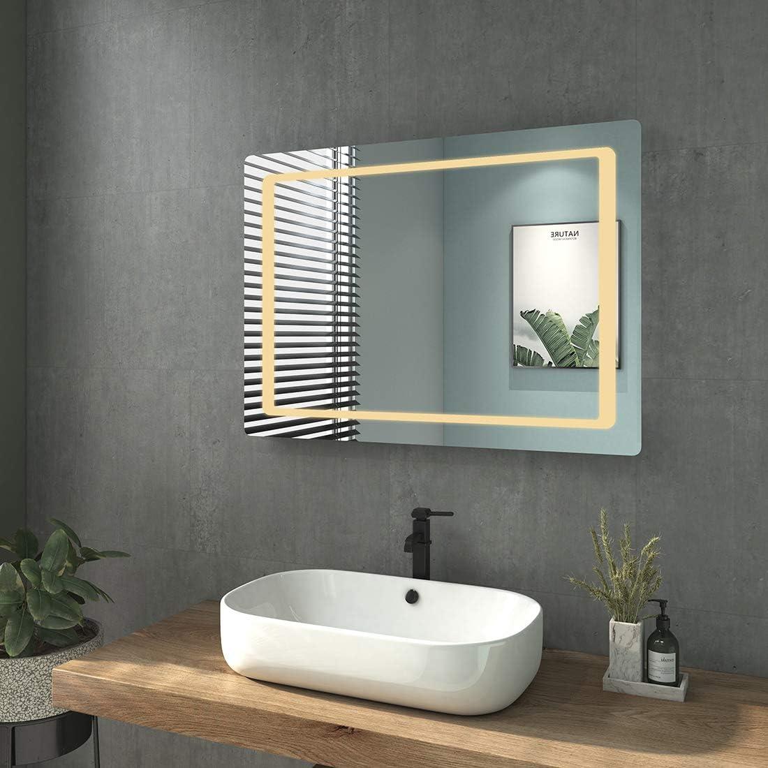 Horizontal Montage IP44 Energiesparend Energieklass A++ WELMAX Badezimmerspiegel LED Badspiegel mit Beleuchtung 80x60 cm Kaltwei/ß Lichtspiegel Wandspiegel mit Sensorschalter