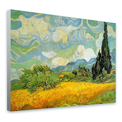 Alonline Art - Wheat Field With Cypresses by Vincent Van Gogh | framed stretched canvas on a ready to hang frame - 100% cotton - gallery wrapped | 21