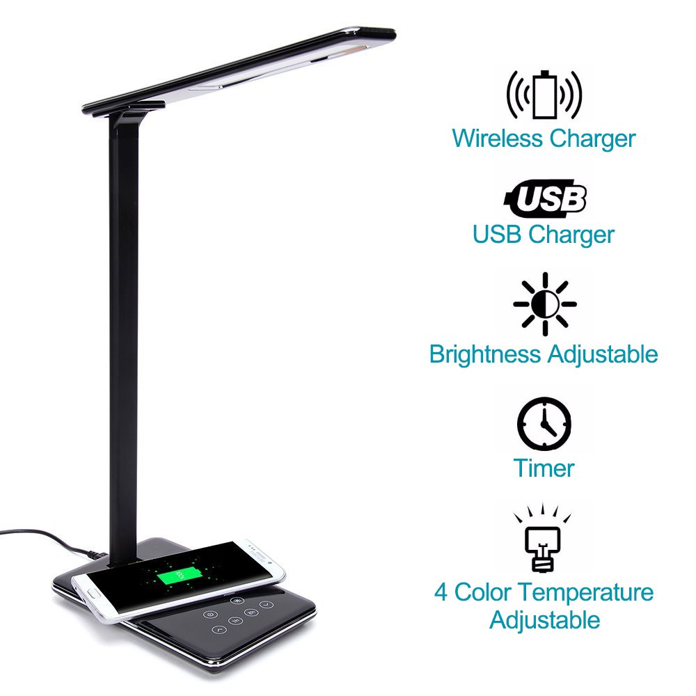 ElementDigital LED Desk Lamp Wireless Charger Smart LED Home Office Table Lamp with Qi-enabled Wireless Charger and USB charging Adjustable Color Temperature for iPhone X, Samsung S6 Black
