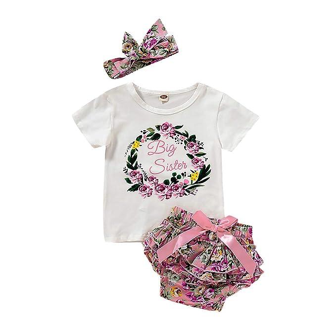 e4cdfcbf684b9 Newborn Girl Clothes Little Sister/Big Sister Shirt Outfits Romper Bodysuit  Set 3/4pcs