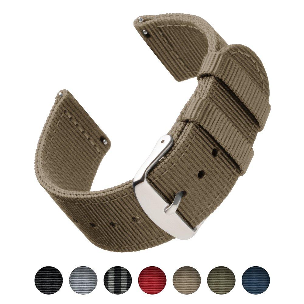 Archer Watch Straps | 高品質ナイロン クイックリリース 交換用時計バンド メンズレディース用 時計とスマートウォッチ | 複数色 18mm 20mm 22 mm 22mm ベージュ 22mm|カーキ カーキ 22mm B0741XDSXS