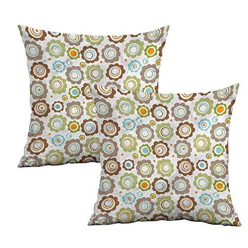 Khaki home Floral Square Body Pillowcase Traditional Retro Petals Square Pillowcase Covers Cushion Cases Pillowcases for Sofa Bedroom Car W 16