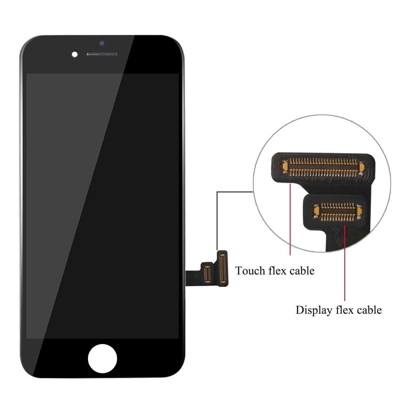 Beefix Pantalla Compatible con iPhone 7 Plus 5.5 Pantalla Negro, 3D Touch LCD Display Digitizer Assembly con Kits de Reparación y Protector de Pantalla: ...