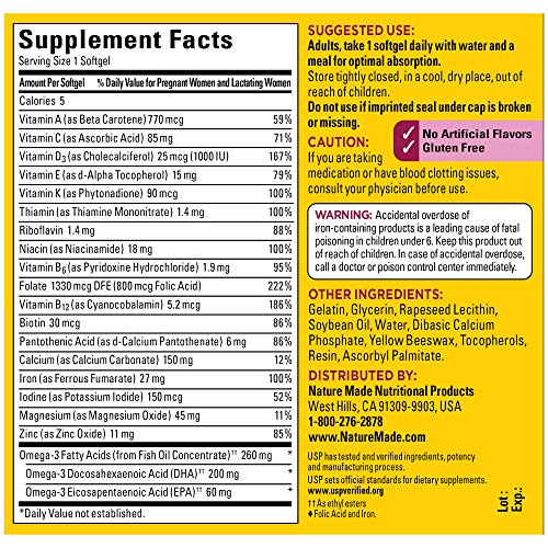 Nature Made Prenatal Vitamin + DHA Sofgtel with Folic Acid, Iodine and Zinc, 90 Count (Packaging May Vary)