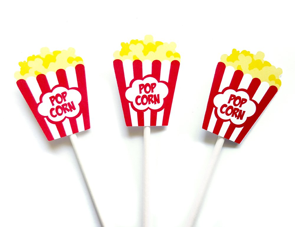 Popcorn Box Cupcake Toppers, Movie Party Cupcake Toppers, Movie Night Cupcake Toppers, Movie Party Cupcake Toppers