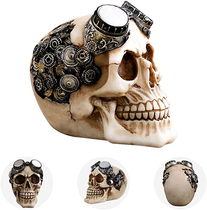 5cm Old Chinese Silver human skeleton Skull Head Jewelry Hand Ring