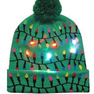 edf32cc48349e Tefamore Coloré Joyeux Noël LED Lumineux Chapeau Bonnet Bean Hairball Warm  Cap Cadeaux