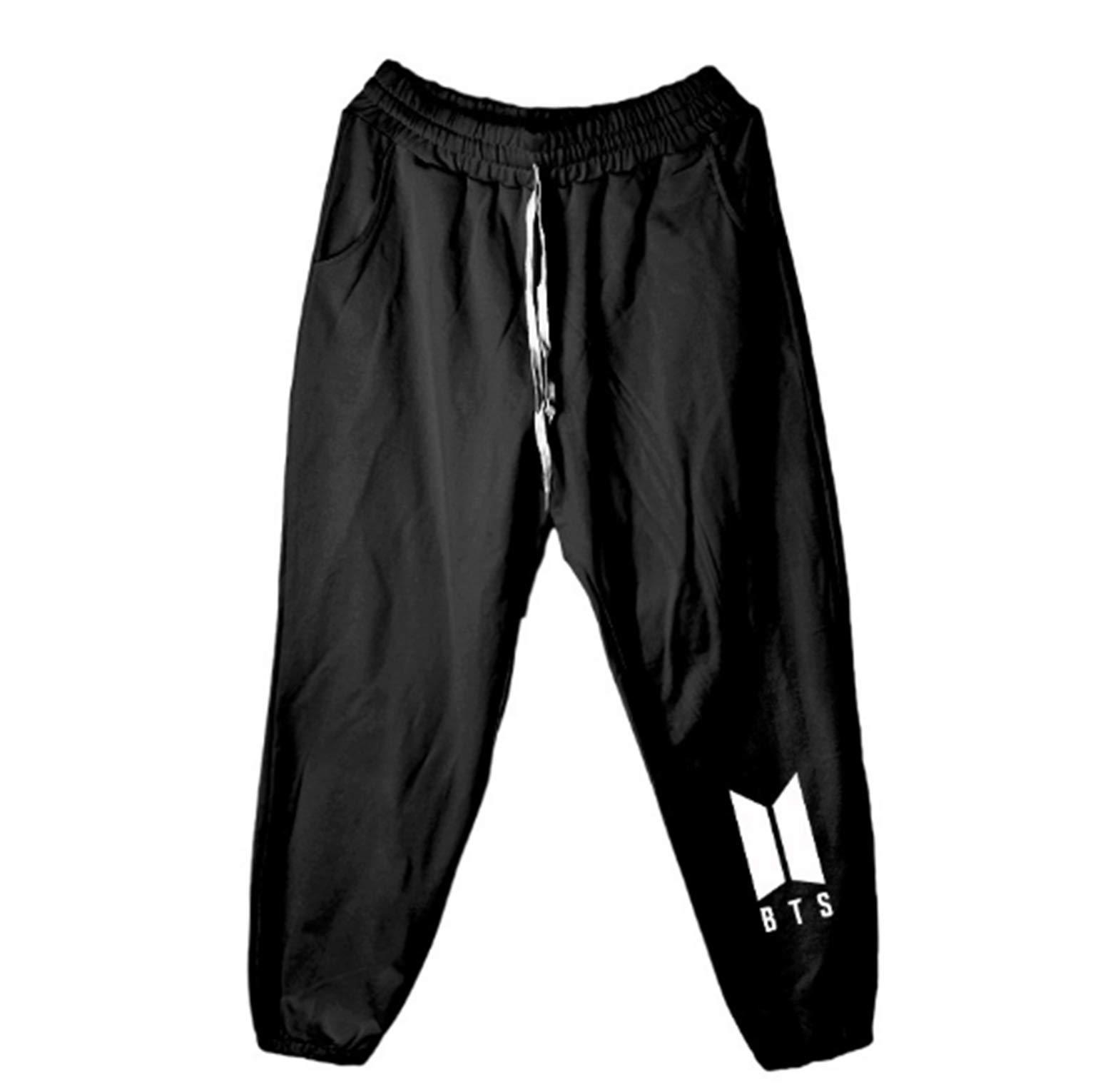 BTS Pants Nine-Point Sports Pants Girls Harajuku Style Parallel Bars Students Leisure (M, Black)