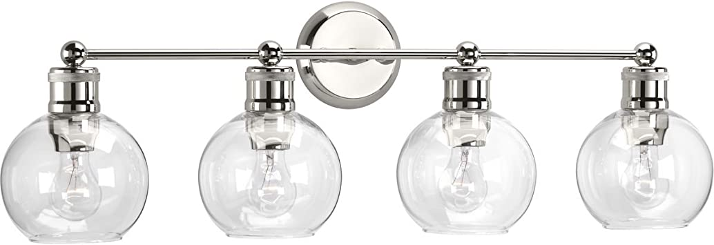 Progress Lighting P300049-104 Hansford Polished Nickel One-Light Bath /& Vanity