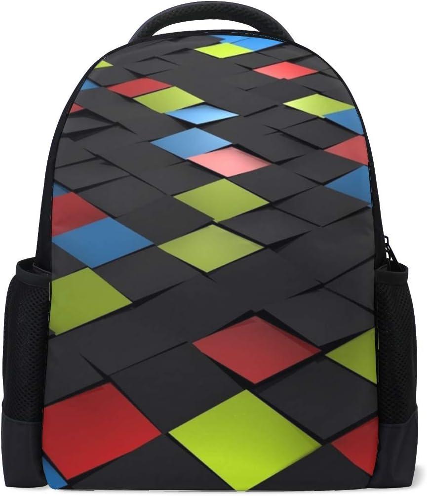 Square Tiles Mosaic Bookbag School Backpack Luggage Travel Sport Bag