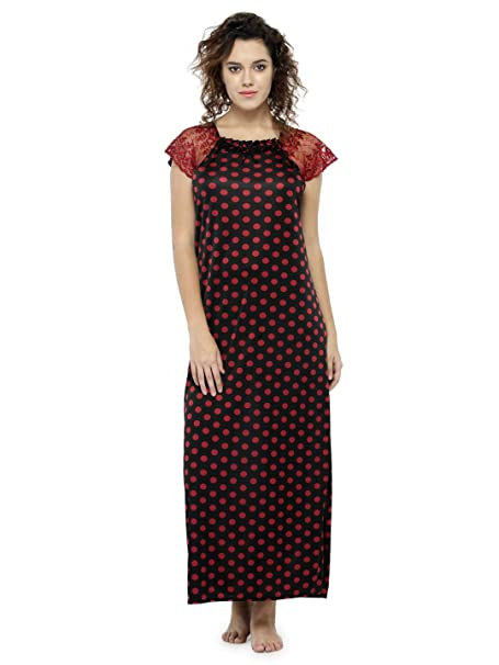 da0b325954 Image Unavailable. Image not available for. Color  ZOZOI Women s Bohemian  Polka Dot Print Maroon Long Night Gown Ladies Maxi Dress