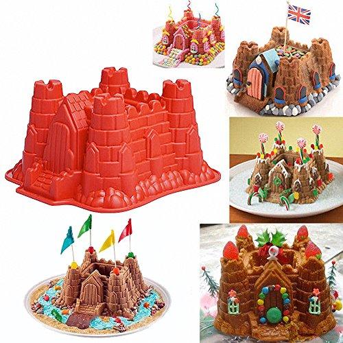 3D Castle Cake Mold - MoldFun Castle Silicone Pan Mold for Bread Baking, Chocolate, Ice Cream, Beach Sand, Snow