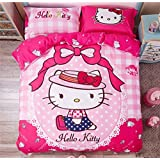 CASA Children 100% cotton series Hello Kitty Duvet cover & Pillow case & Flat sheet,4 Pieces,Queen