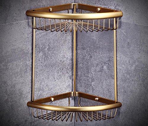 KIEYY El cobre-cesta CESTA triangular WC baño baño bastidores bastidores bastidores bastidor del canasto de malla de oro, cobre antiguo - doble canasta d491ac