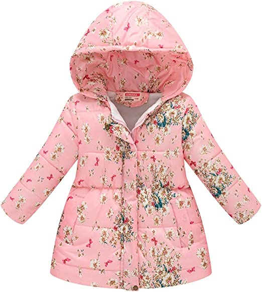 2-8Years Toraway Girls Jacket Toddler Kids Girls Boys Butterfly Hooded Zipper Wind Coat Outwear Clothes Winter Coat