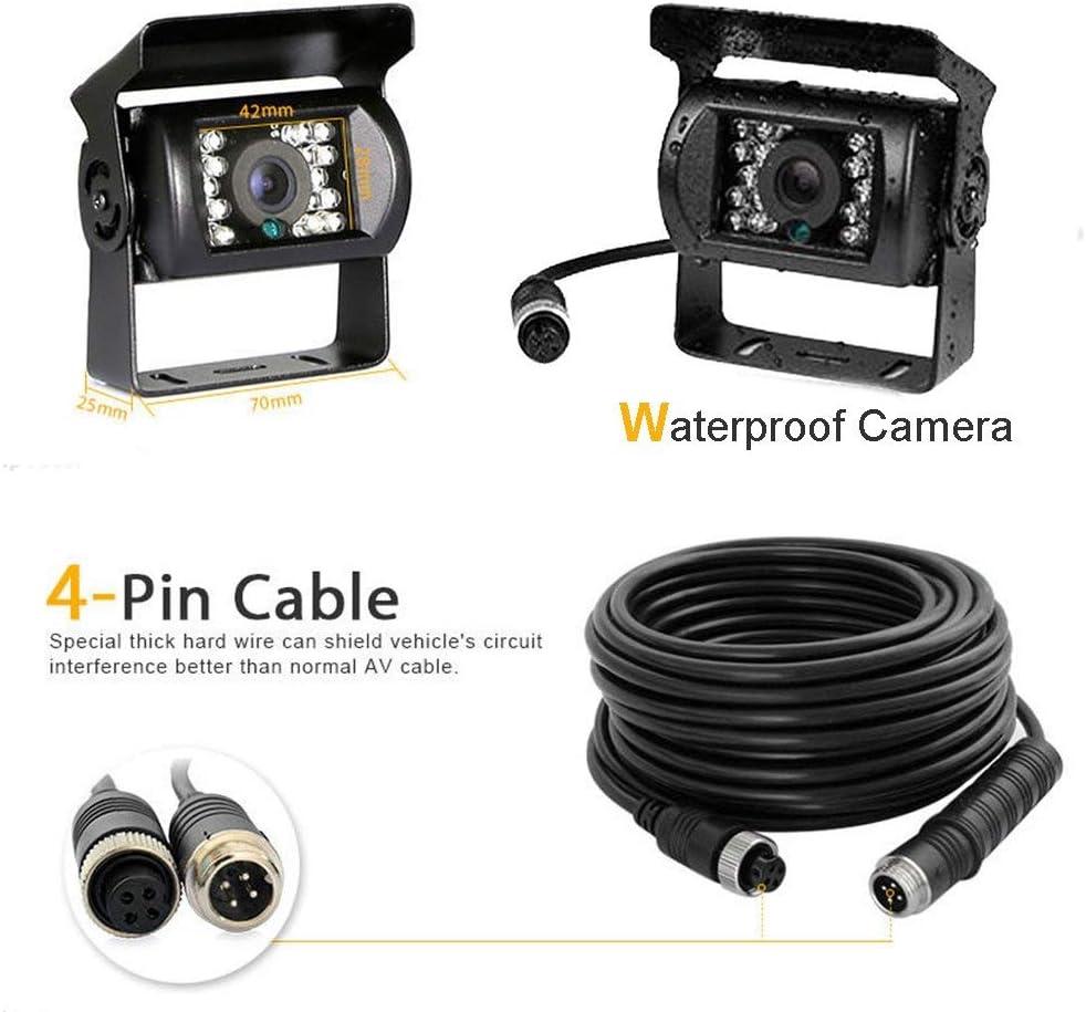 Hikity Car Backup Camera 4 Pins Rear View Reversing Camera 12V 24V Waterproof Night Vision for Car//Trailer//Bus//Truck Packing 10M 4 Pins Cable