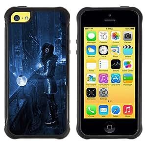 "Pulsar iFace Series Tpu silicona Carcasa Funda Case para Apple iPhone 5C , Art Blue Night City Lights Futurismo Auriculares"""