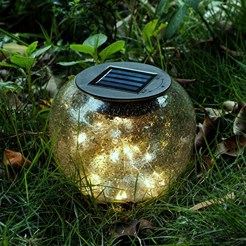 Solar Garden Lights, Glass Globe Solar Lantern with 25 LEDs Fairy String Lights, MYHH-LITES Outdoor Solar Tabletop Lights, Night Lights, Centerpiece for Decorations (Garden Solar Balls)