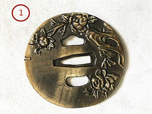 Antique brass Tsuba Hand Guard For Japanese Samurai Swords Wakizashi Tanto(9 SET OF YOU CAN CHOOSE) (Gold Black-TTA1, TTA1)