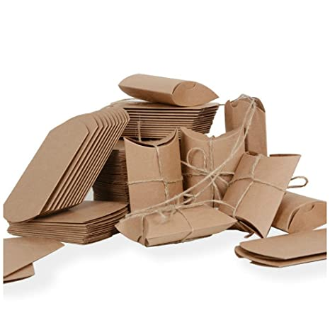 100 × Cajas, Papel Kraft, para Guardar Bombones, Galletas Pequeñas Detalle Regalo Recuerdo Favor Decoración para Invitados de Boda, Fiesta, Comunión, ...