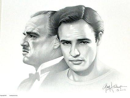 71bebeb9 Amazon.com: Gary Saderup Marlon Brando Black White Portrait as Young ...