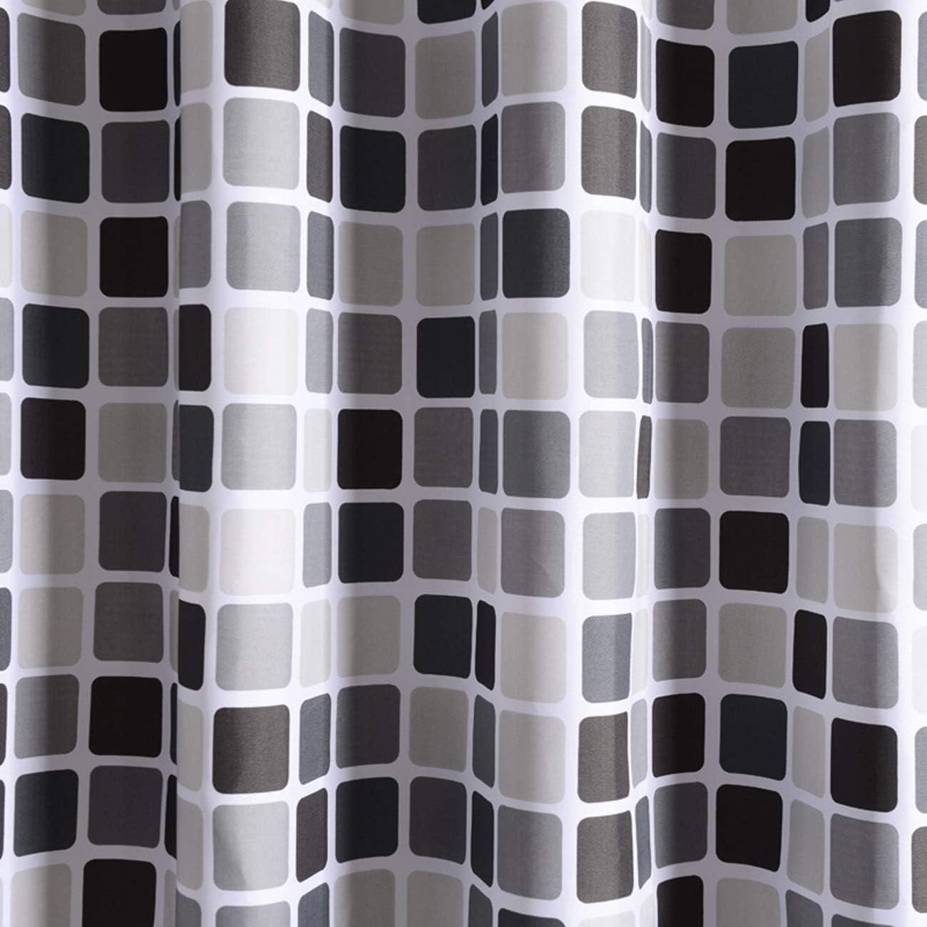 Blisfille Cortinas para Oficina Cortina de Ducha de Poli/éster Cortina Ba/ño de Tart/án,Negro Blanco,80X180