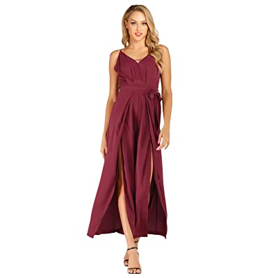 VWIWV Women's Sexy V Neck Jumpsuit Backless Slit Wide Leg Long Pants Jumpsuit Romper with Belt: Clothing