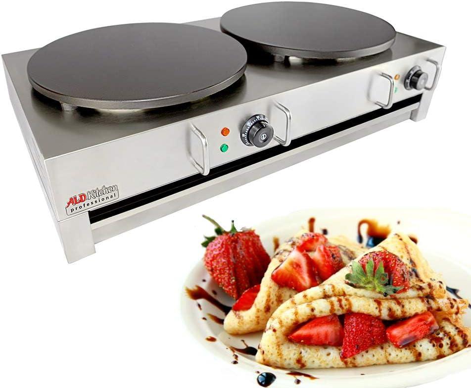 ALDKitchen Electric Crepe Machine Griddle, Commercial Electric Plate Crepe Machine Snack Machine Electric Hot Plate Double plates