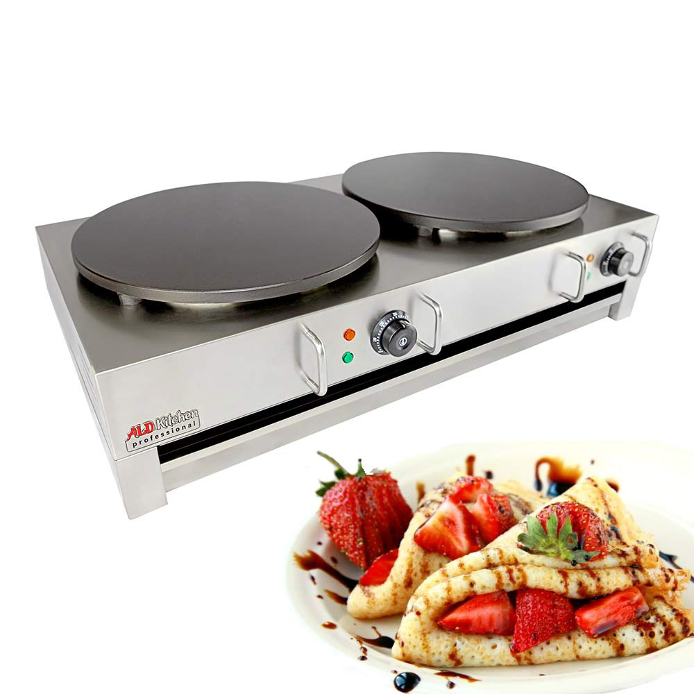 ALDKitchen Electric Crepe Machine Griddle, Commercial Electric Plate Crepe Machine Snack Machine Electric Hot Plate Double plates