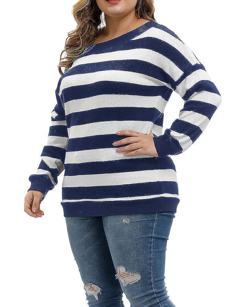 Allegrace Women Plus Size Sweaters Pullover Long Sleeve Stripe Soft Lightweight Knit Fall Winter Sweatshirts