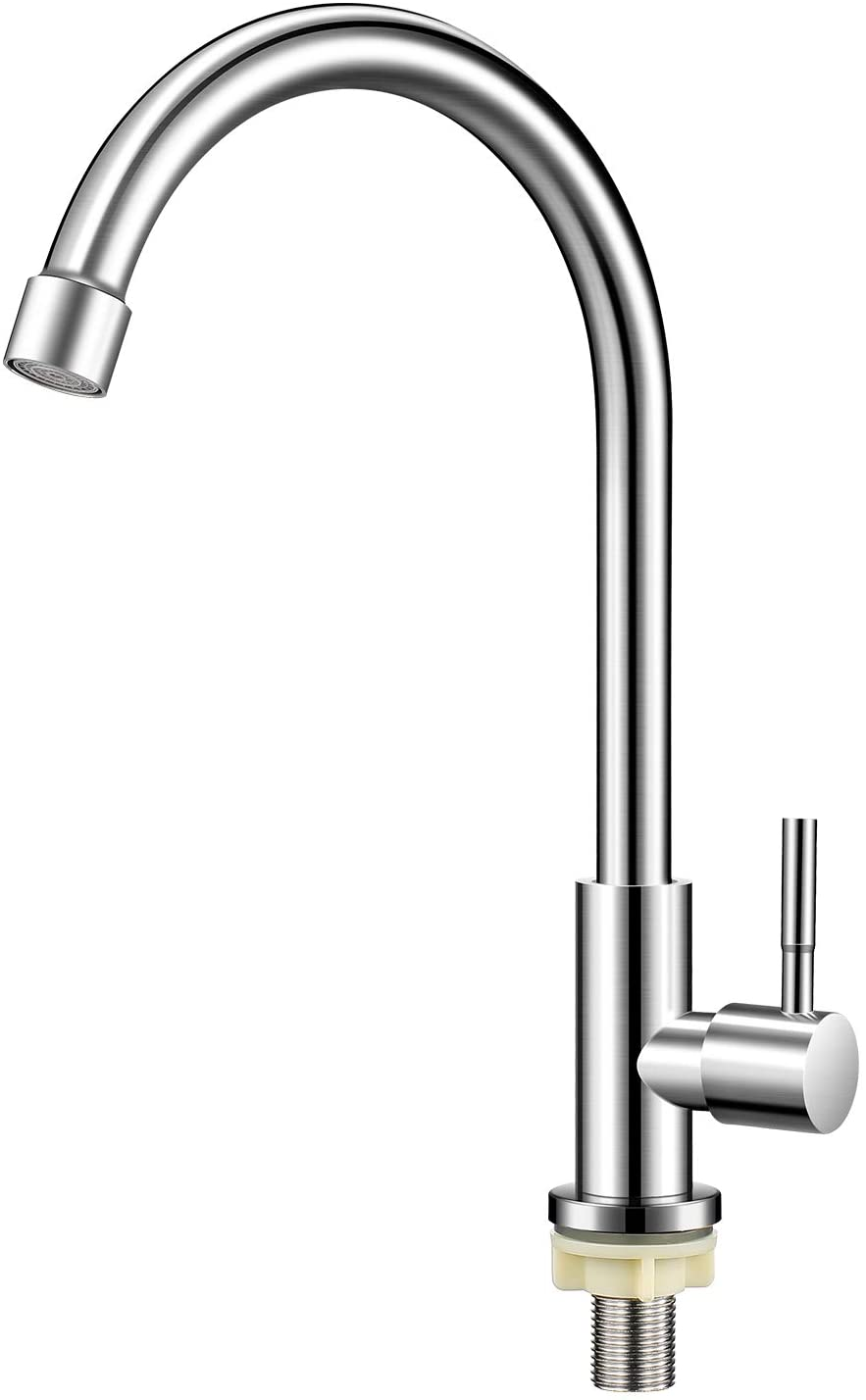 Stainless Steel Kitchen Faucet Single Handle Single Hole High Arc Cold Water Sink Faucet for Kitchen,Bathroom,Outdoor Garden and Bar.(Free Cold Water Supply Lines)