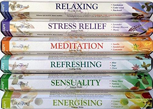120 Sticks of Stamford Premium Aromatherapy Hex Range Incense Sticks - Relaxing, Stress Relief, Meditation, Refreshing, Sensuality & Energising Incense gift pack.