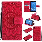 For Sony Xperia Z3 Case [Red],Cozy Hut [Wallet Case] Magnetic Flip Book Style Cover Case ,High Quality Classic New design Sunflower Pattern Design Premium PU Leather Folding Wallet Case With [Lanyard Strap] and [Credit Card Slots] Stand Function Folio Protective Holder Perfect Fit For Sony Xperia Z3 5,2 inch - red
