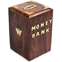Mussal Handmade Wooden Money Bank/Coin Bank/Piggy Bank/Coin Box