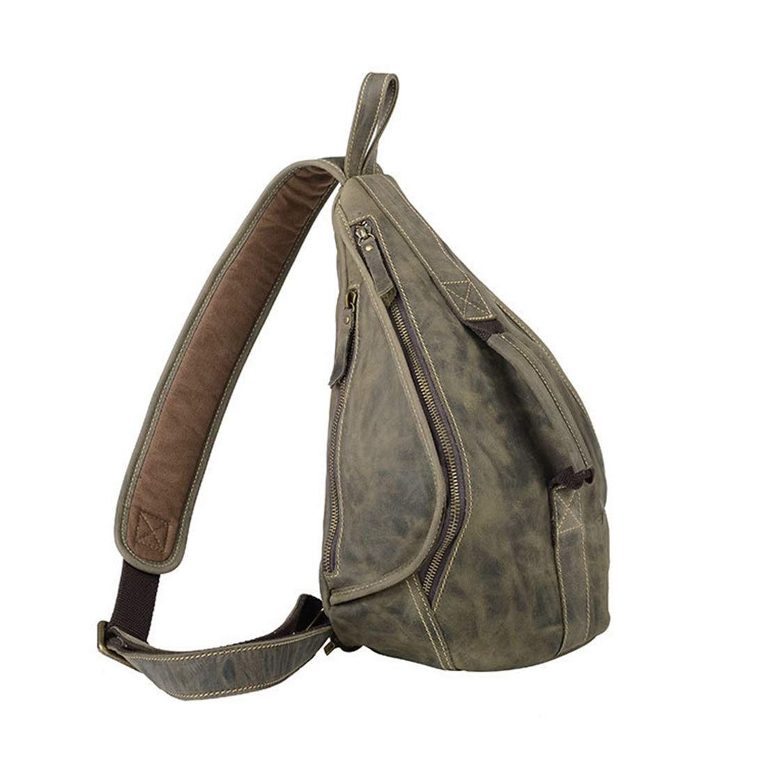 Color : Bamboo Cyan Carriemeow Leather Chest Bag Men and Women Messenger Bag Travel Small Backpack Pockets