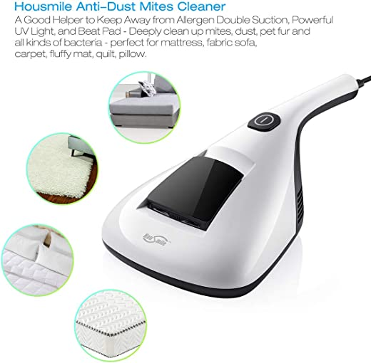 Housmile 804 Anti Dust Mites UV Vacuum Cleaner with Advanced HEPA Filtration and Double Powerful Suctions Eliminates Mites
