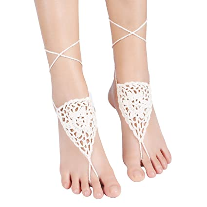 a7d08a16ff6f9a Amazon.com  Sealike Crochet Barefoot Sandals Wedding Beach Shoes ...