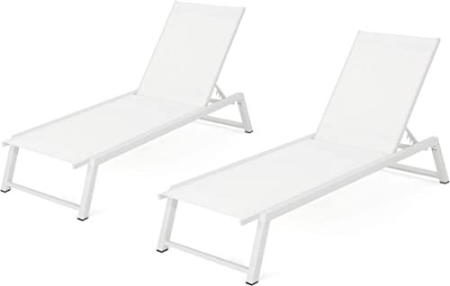Christopher Knight Home Belle Outdoor Mesh Chaise Lounges, 2-Pcs Set, White Mesh White