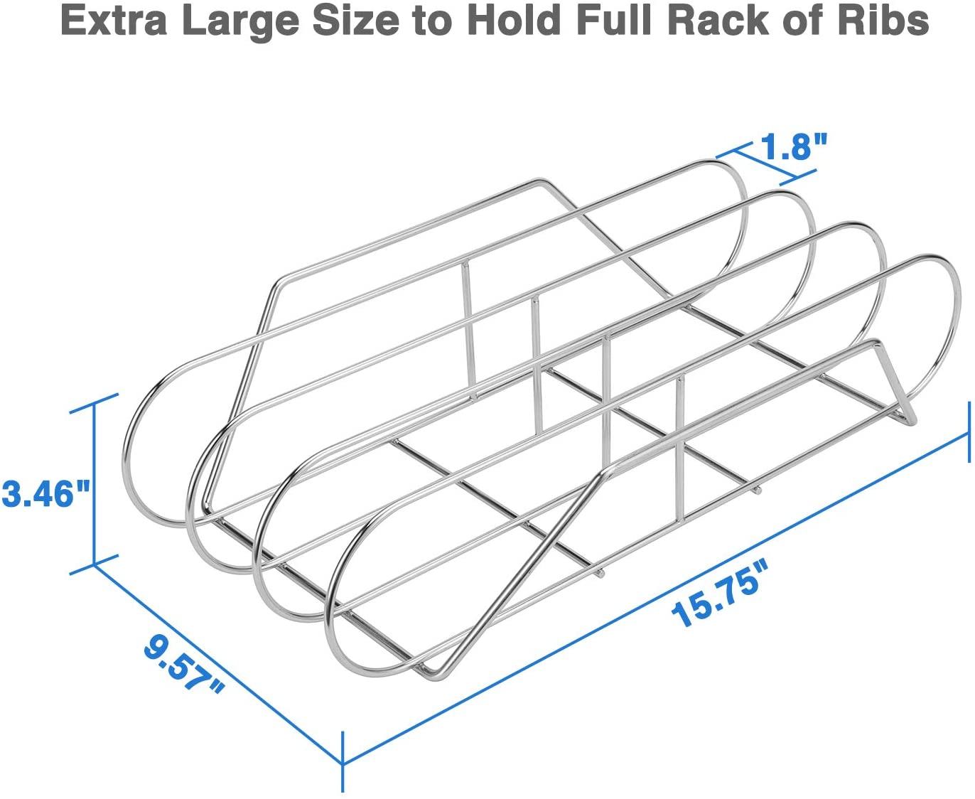 """SOLIGT Extra Long 304 Stainless Steel Rib Rack for 18"""" or Larger Grills - Holds up to 3 Full Racks of Ribs : Garden & Outdoor"""