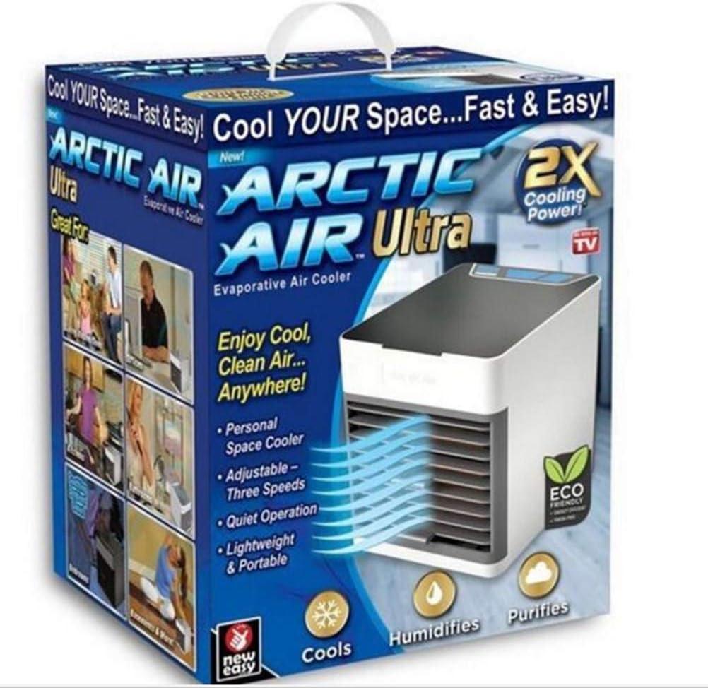 YQ Arctic Air Air Cooler X2, Tres en uno para enfriamiento y humidificación y purificación de Aire, conexión USB fácil de Transportar, iluminación Nocturna de 7 Colores, Adecuado para el hogar,
