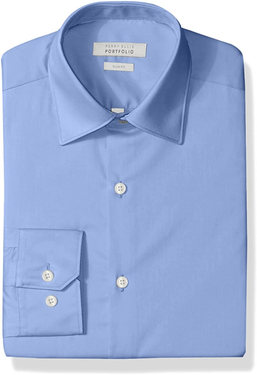 Perry Ellis Men's Slim Fit Wrinkle Free Dress Shirt at  Men's Clothing store
