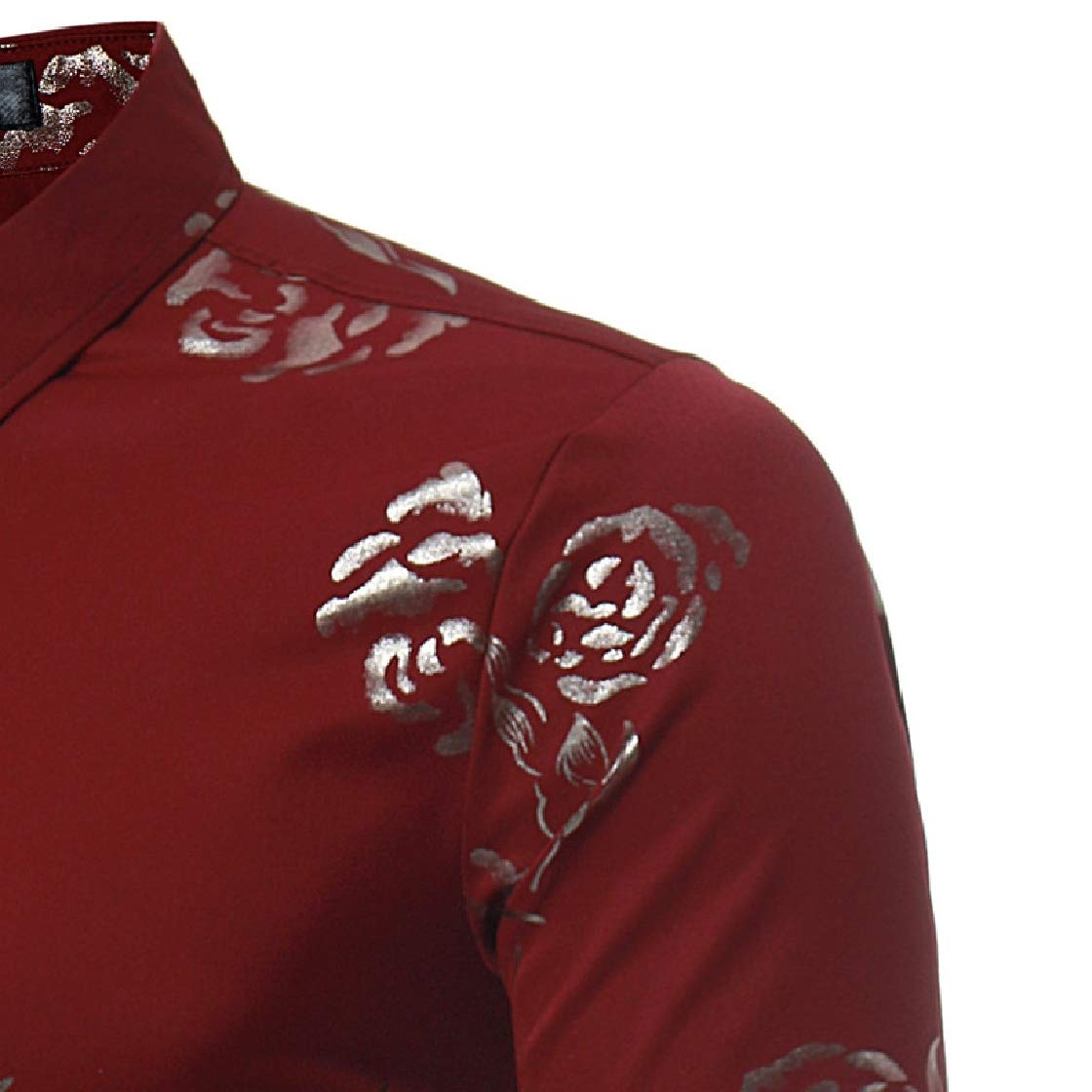 YUNY Mens Britain Regular-Fit Long-Sleeve Rose Fall /& Winter Printed Longshirt Wine Red L