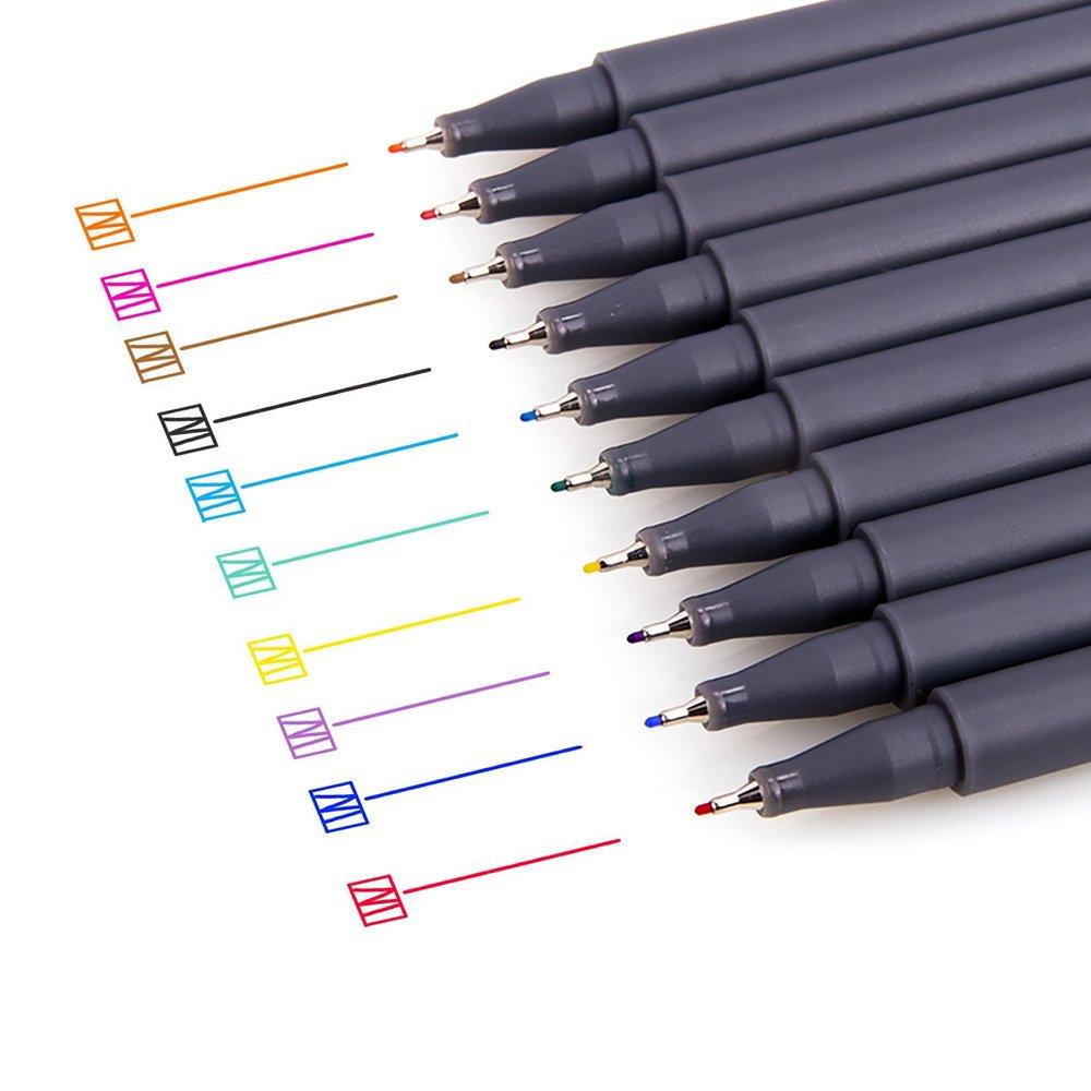 Siivton, Fineliner, set di penne colorate a punta fine da 0,38mm, confezione da 10, colori assortiti 38mm Sivtoon