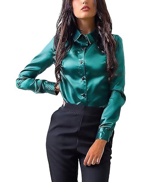 Mujer Camisas Manga Larga Elegantes Seda Oficina Negocios Ejecutiva Slim Fit Blusa Tops Color Sólido De